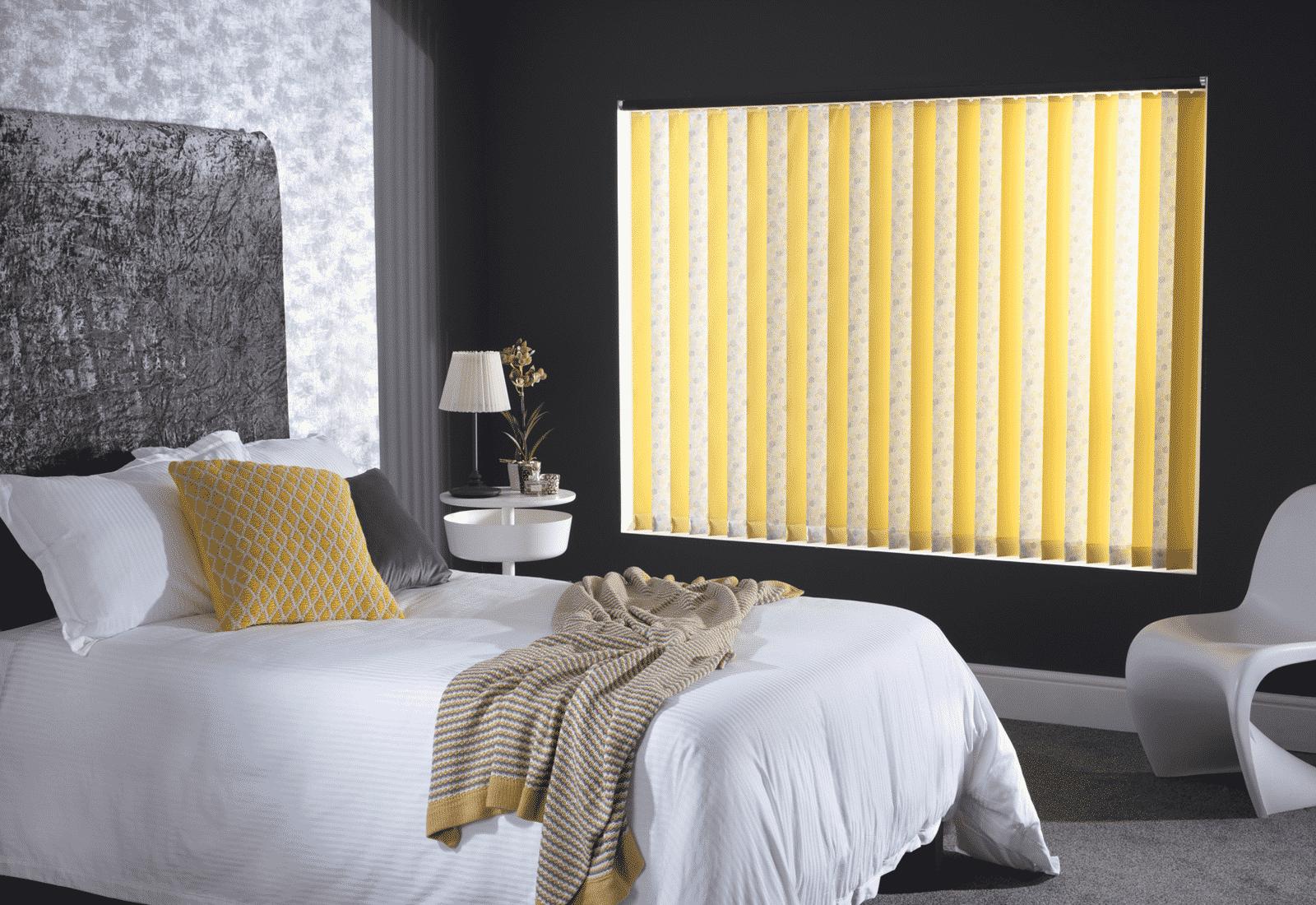 Coloured vertical blinds bedroom